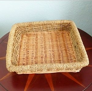 Woven Boho Two Tone Wicker Rope Detail Basket